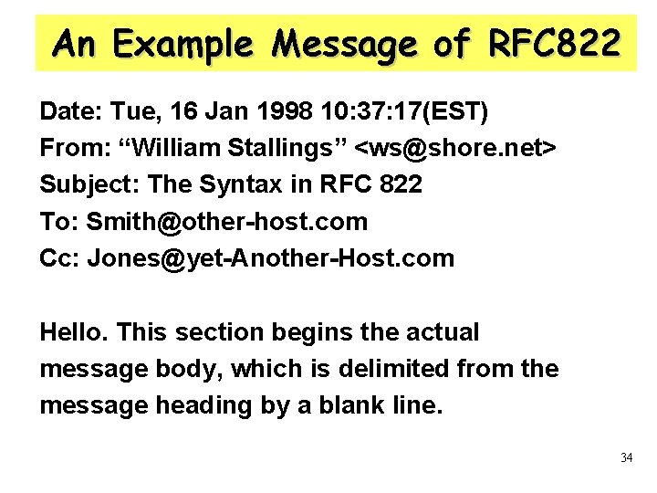 An Example Message of RFC 822 Date: Tue, 16 Jan 1998 10: 37: 17(EST)