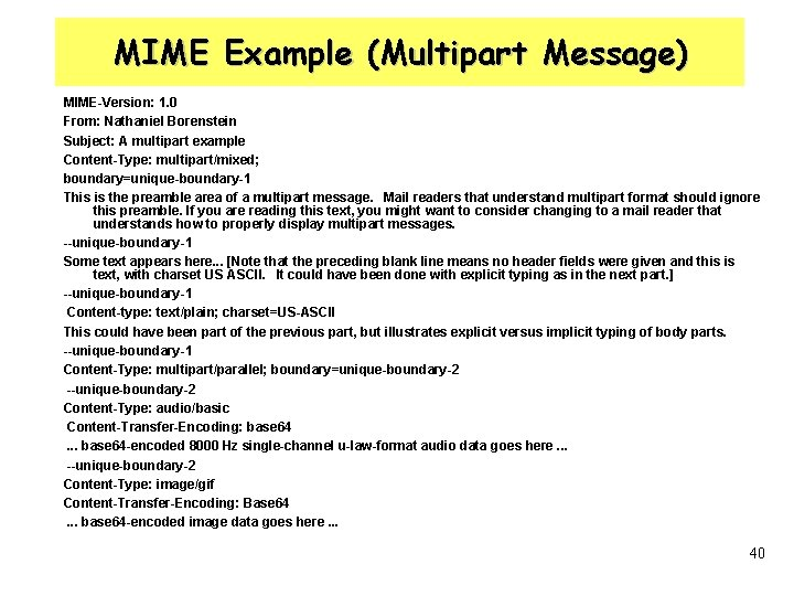 MIME Example (Multipart Message) MIME-Version: 1. 0 From: Nathaniel Borenstein Subject: A multipart example