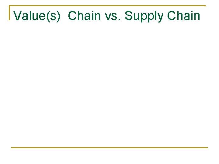 Value(s) Chain vs. Supply Chain