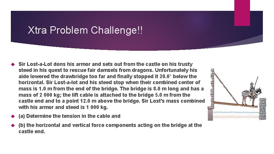 Xtra Problem Challenge!! Sir Lost-a-Lot dons his armor and sets out from the castle