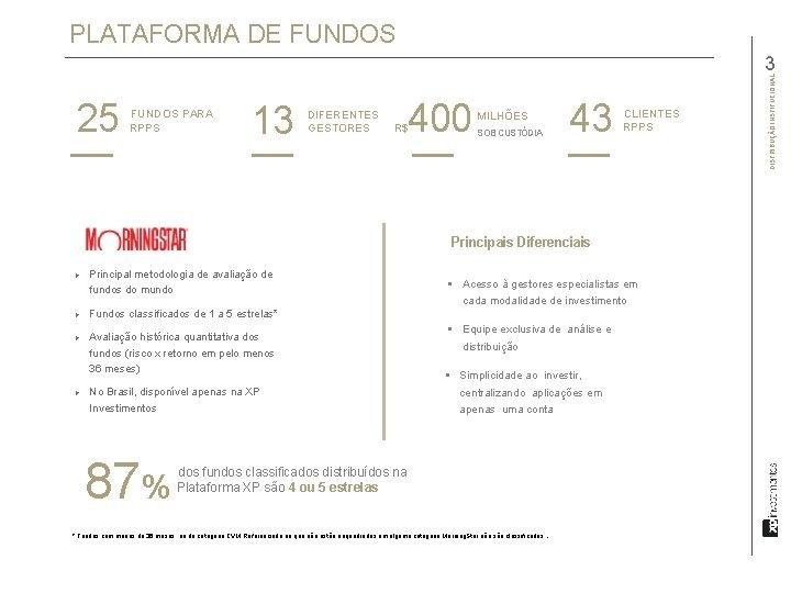 PLATAFORMA DE FUNDOS 25 FUNDOS PARA RPPS 13 DIFERENTES GESTORES 400 R$ 43 MILHÕES