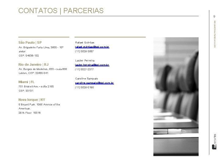 CONTATOS   PARCERIAS São Paulo   SP Rafael Quintas Av. Brigadeiro Faria Lima, 3600