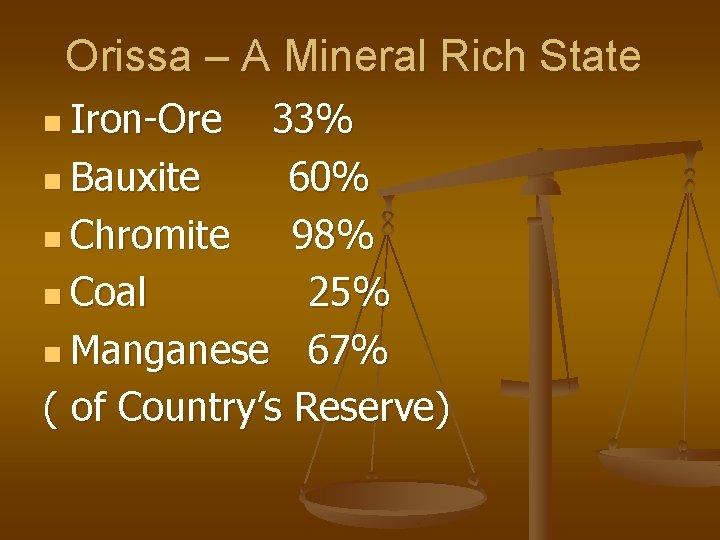 Orissa – A Mineral Rich State n Iron-Ore 33% n Bauxite 60% n Chromite