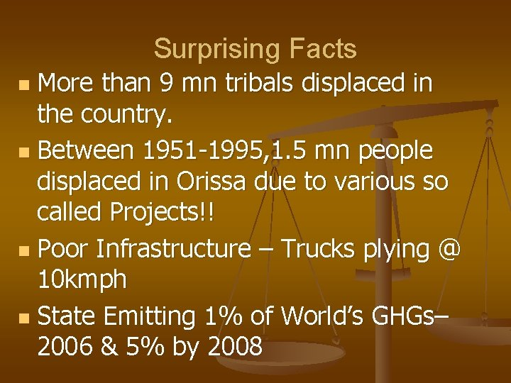 Surprising Facts More than 9 mn tribals displaced in the country. n Between 1951