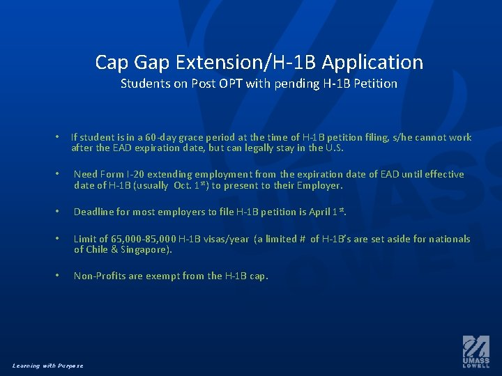 Cap Gap Extension/H-1 B Application Students on Post OPT with pending H-1 B Petition