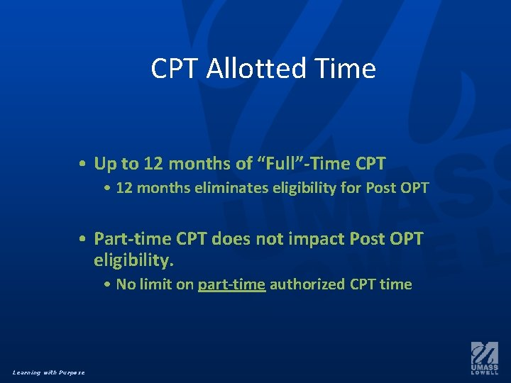"""CPT Allotted Time • Up to 12 months of """"Full""""-Time CPT • 12 months"""