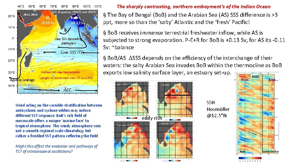 The sharply contrasting, northern embayment's of the Indian Ocean 2012 -2016 SSS (Aquarius, SMAP)
