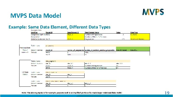 MVPS Data Model Example: Same Data Element, Different Data Types Note: The above graphic
