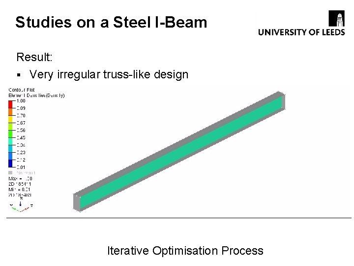 Studies on a Steel I-Beam Result: § Very irregular truss-like design Iterative Optimisation Process