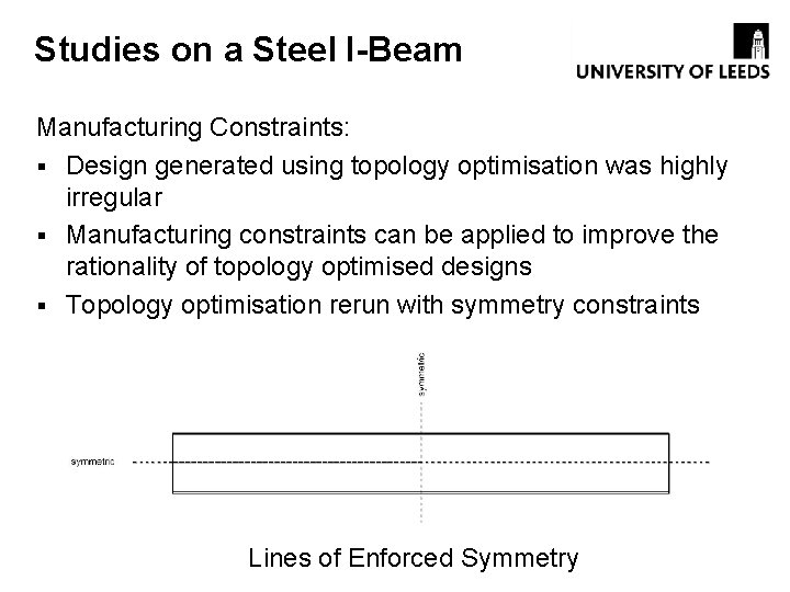 Studies on a Steel I-Beam Manufacturing Constraints: § Design generated using topology optimisation was