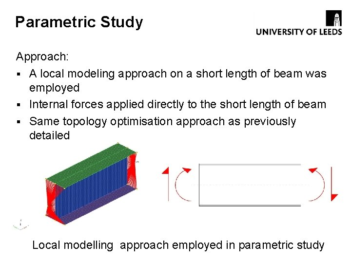 Parametric Study Approach: § A local modeling approach on a short length of beam