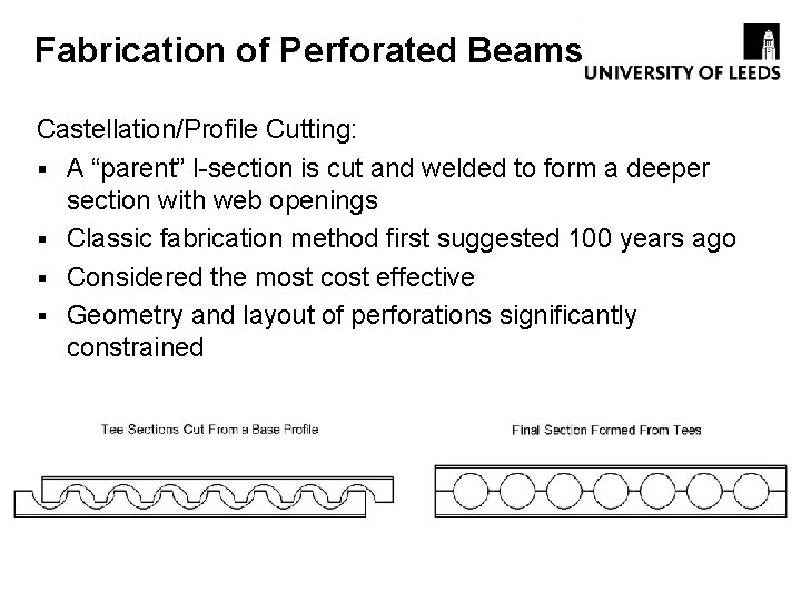 """Fabrication of Perforated Beams Castellation/Profile Cutting: § A """"parent"""" I-section is cut and welded"""