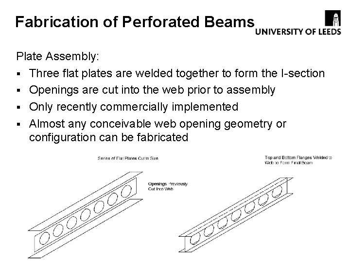 Fabrication of Perforated Beams Plate Assembly: § Three flat plates are welded together to