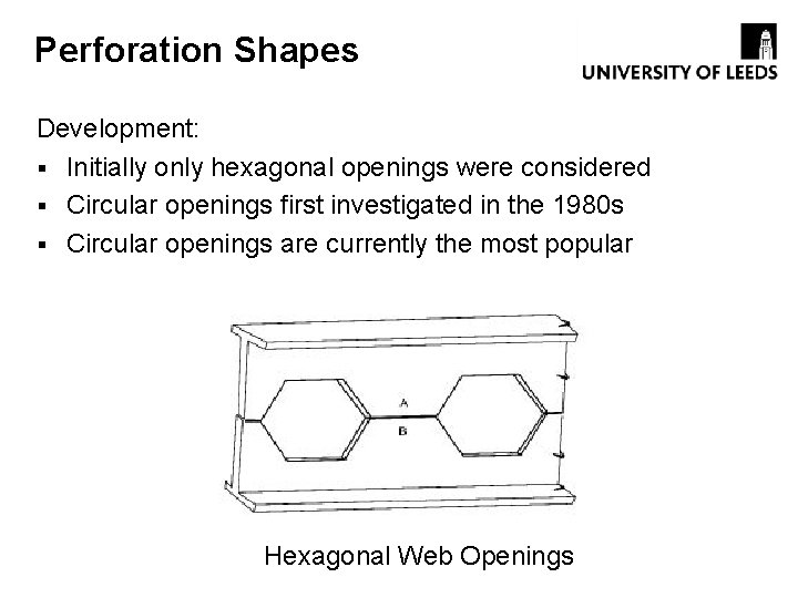 Perforation Shapes Development: § Initially only hexagonal openings were considered § Circular openings first