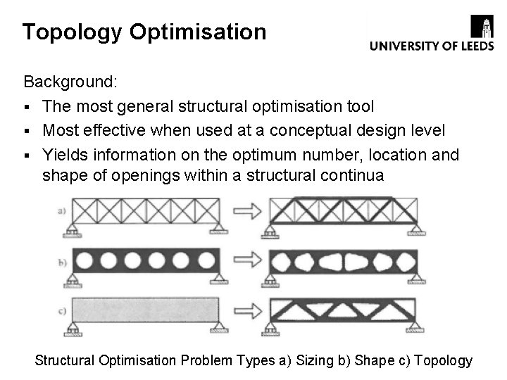 Topology Optimisation Background: § The most general structural optimisation tool § Most effective when