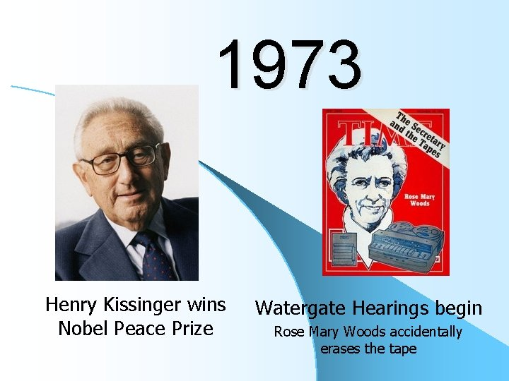 1973 Henry Kissinger wins Nobel Peace Prize Watergate Hearings begin Rose Mary Woods accidentally