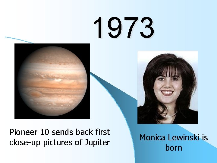 1973 Pioneer 10 sends back first close-up pictures of Jupiter Monica Lewinski is born
