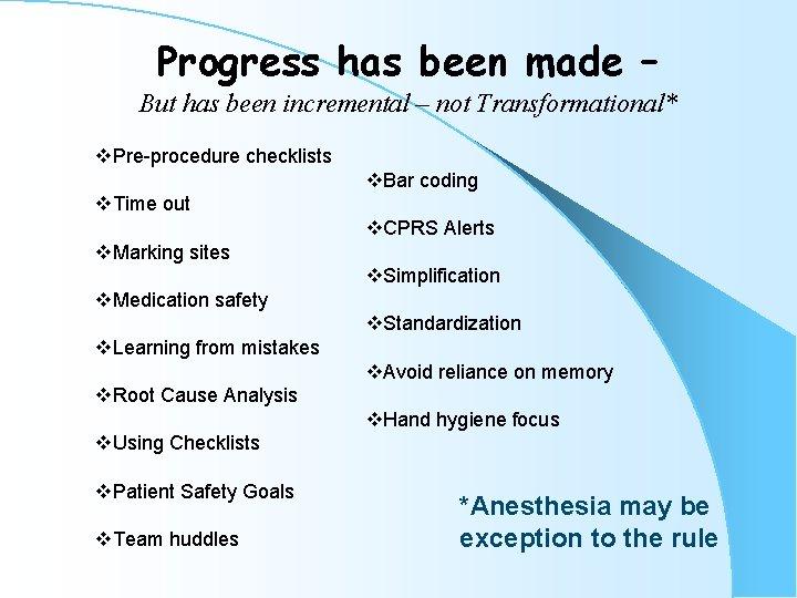 Progress has been made – But has been incremental – not Transformational* v. Pre-procedure