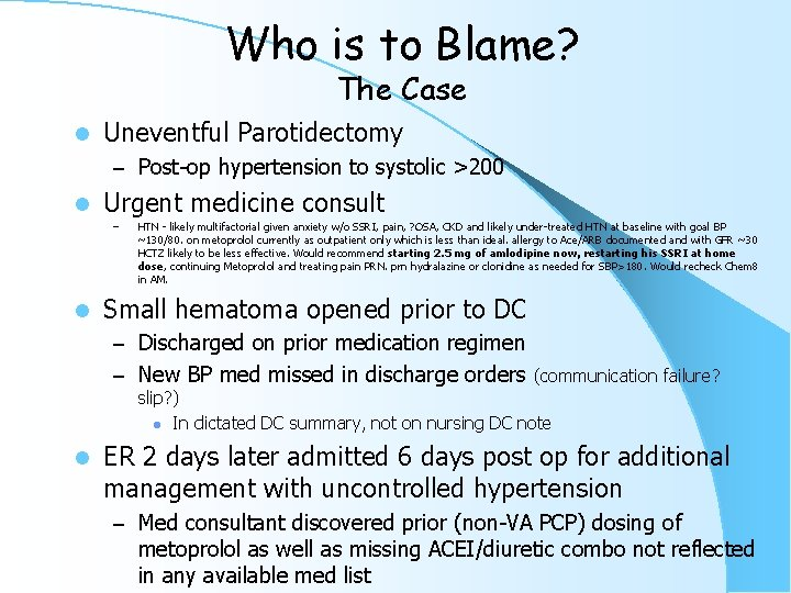 Who is to Blame? The Case l Uneventful Parotidectomy – Post-op hypertension to systolic