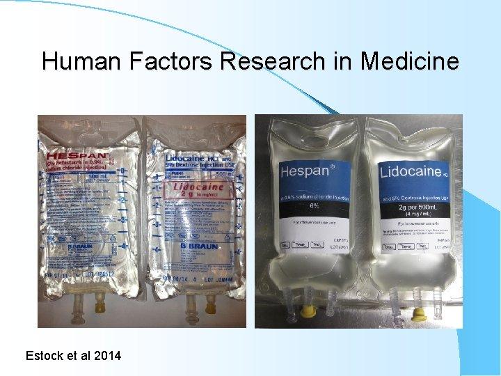 Human Factors Research in Medicine Estock et al 2014