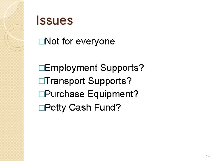 Issues �Not for everyone �Employment Supports? �Transport Supports? �Purchase Equipment? �Petty Cash Fund? 14