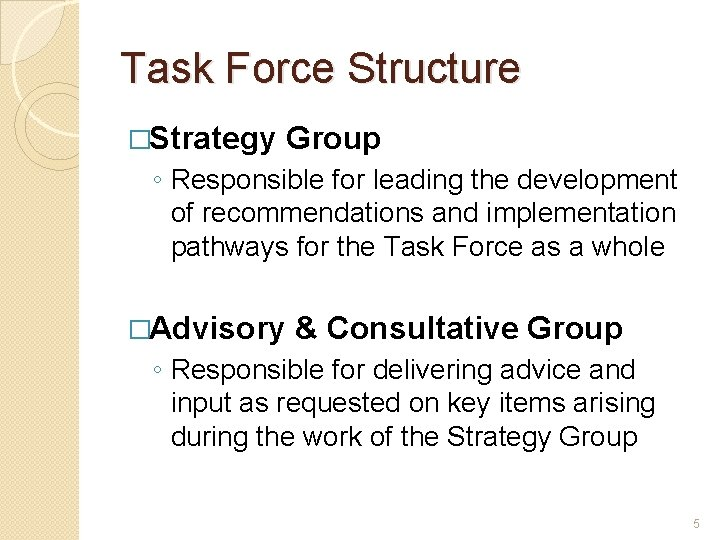 Task Force Structure �Strategy Group ◦ Responsible for leading the development of recommendations and