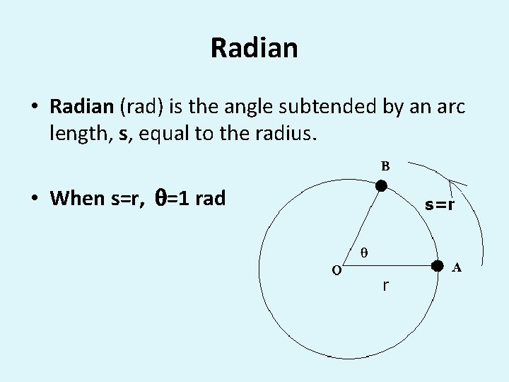 Radian • Radian (rad) is the angle subtended by an arc length, s, equal