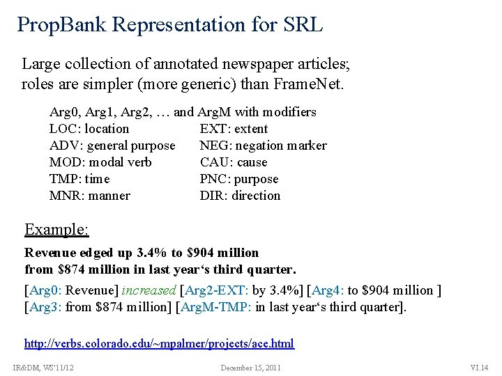 Prop. Bank Representation for SRL Large collection of annotated newspaper articles; roles are simpler