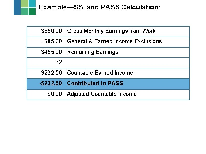 Example—SSI and PASS Calculation: $550. 00 Gross Monthly Earnings from Work -$85. 00 General