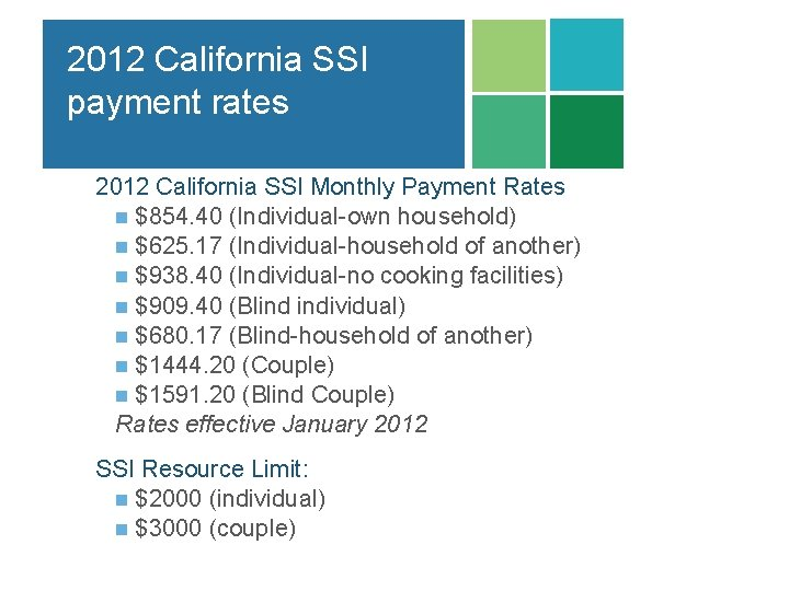 2012 California SSI payment rates 2012 California SSI Monthly Payment Rates n $854. 40