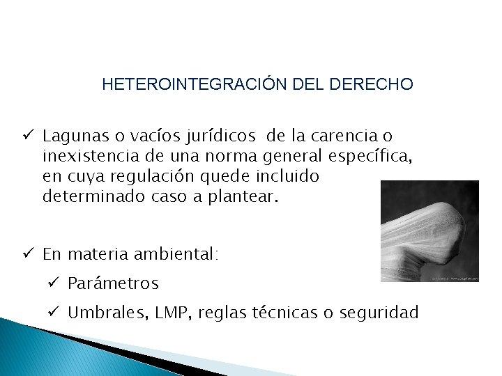 HETEROINTEGRACIÓN DEL DERECHO ü Lagunas o vacíos jurídicos de la carencia o inexistencia de