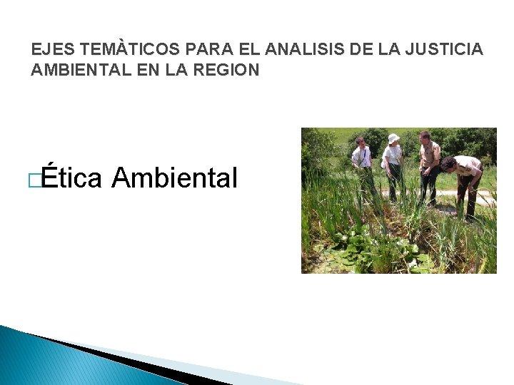 EJES TEMÀTICOS PARA EL ANALISIS DE LA JUSTICIA AMBIENTAL EN LA REGION �Ética Ambiental