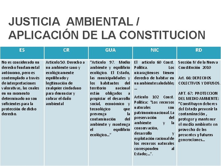 JUSTICIA AMBIENTAL / APLICACIÓN DE LA CONSTITUCION ES No es considerado un derecho fundamental