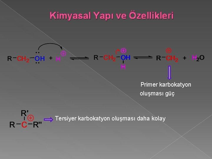 Kimyasal Yapı ve Özellikleri Primer karbokatyon oluşması güç Tersiyer karbokatyon oluşması daha kolay