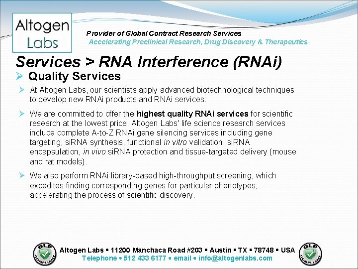 Provider of Global Contract Research Services Accelerating Preclinical Research, Drug Discovery & Therapeutics Services