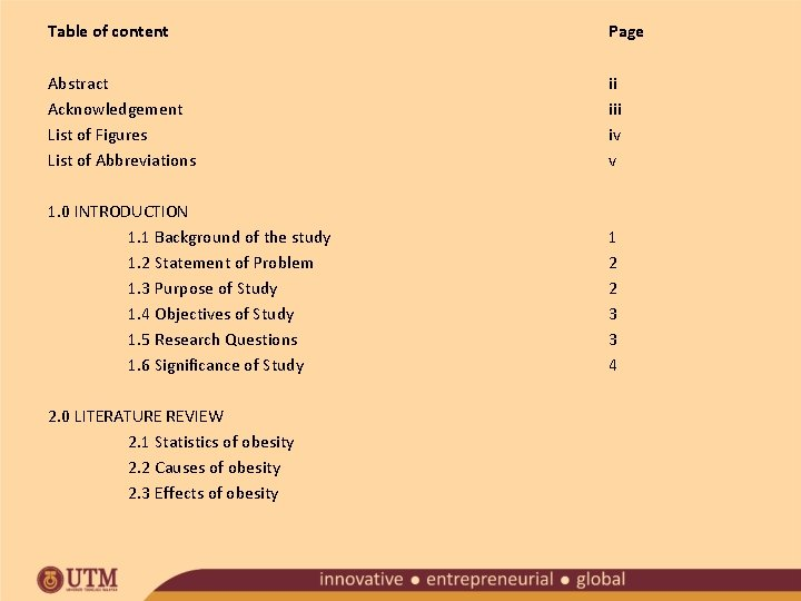 Table of content Page Abstract Acknowledgement List of Figures List of Abbreviations ii iv