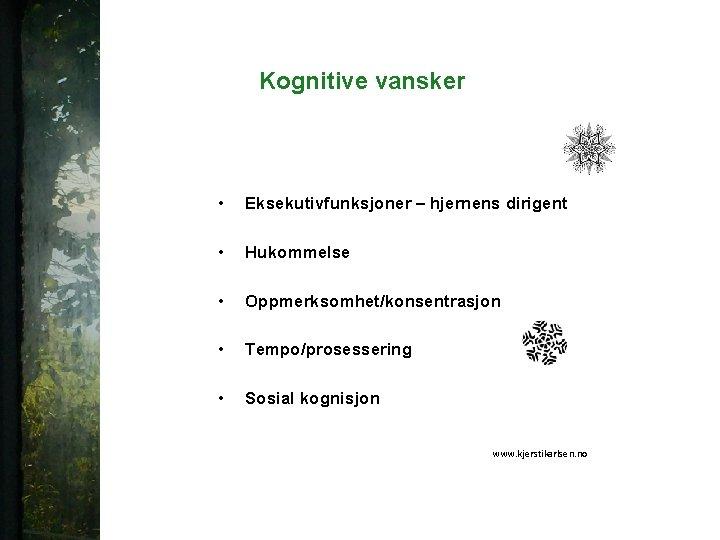 Kognitive vansker • Eksekutivfunksjoner – hjernens dirigent • Hukommelse • Oppmerksomhet/konsentrasjon • Tempo/prosessering •