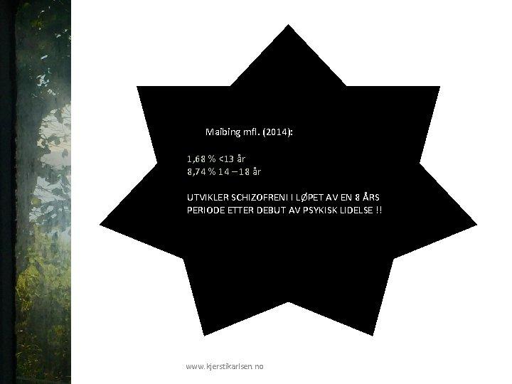 Maibing mfl. (2014): 1, 68 % <13 år 8, 74 % 14 – 18