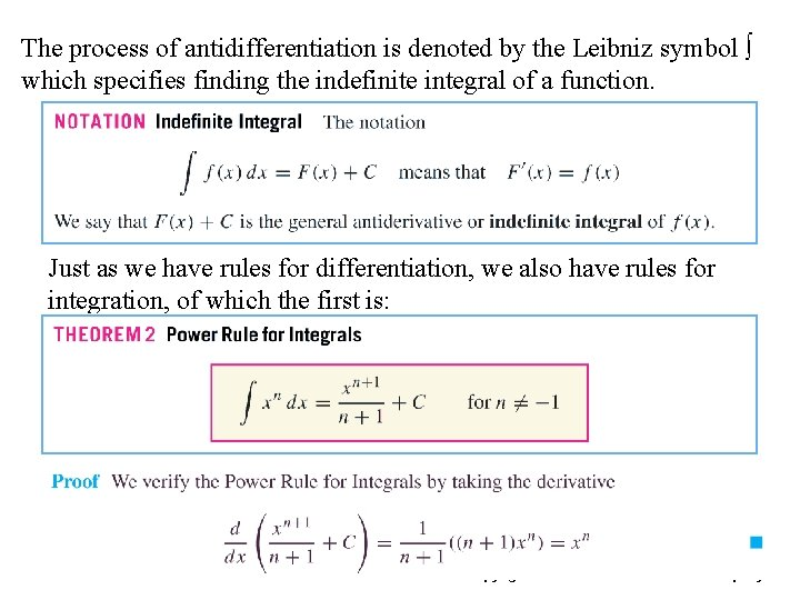The process of antidifferentiation is denoted by the Leibniz symbol ∫ which specifies finding