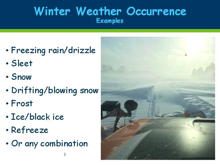 Winter Weather Occurrence Examples • Freezing rain/drizzle • Sleet • Snow • Drifting/blowing snow