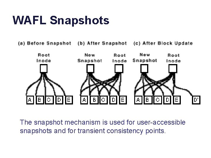 WAFL Snapshots The snapshot mechanism is used for user-accessible snapshots and for transient consistency
