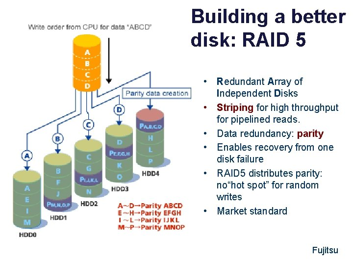 Building a better disk: RAID 5 • Redundant Array of Independent Disks • Striping