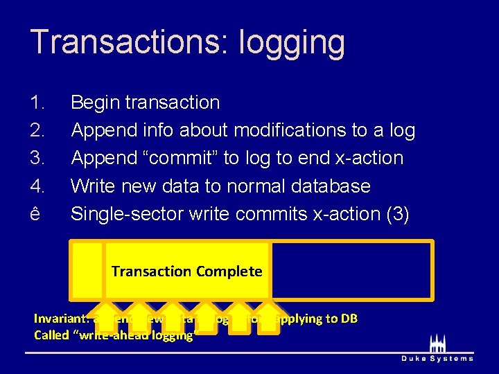 Transactions: logging Commit Write. N Write 1 Begin transaction Append info about modifications to