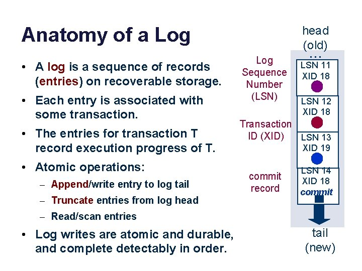 Anatomy of a Log • A log is a sequence of records (entries) on