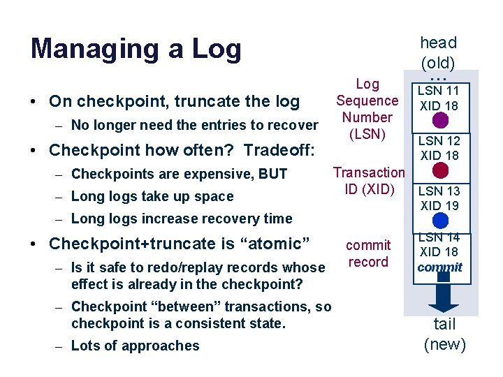 Managing a Log • On checkpoint, truncate the log – No longer need the