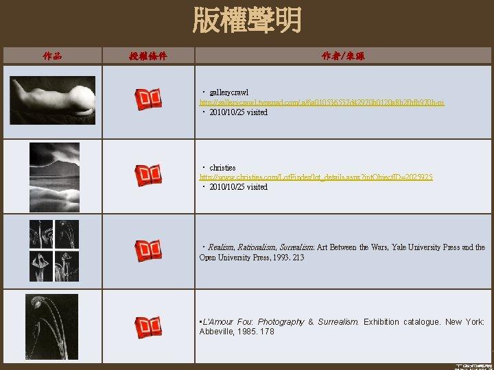 版權聲明 作品 授權條件 作者/來源 ‧ gallerycrawl http: //gallerycrawl. typepad. com/. a/6 a 010536537 d