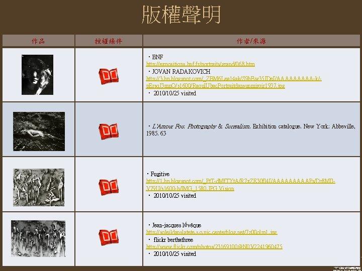 版權聲明 作品 授權條件 作者/來源 ‧BNF http: //expositions. bnf. fr/portraits/grand/068. htm ‧JOVAN RADAKOVICH http: //3.