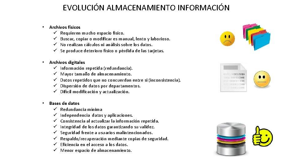 EVOLUCIÓN ALMACENAMIENTO INFORMACIÓN • Archivos físicos ü Requieren mucho espacio físico. ü Buscar, copiar