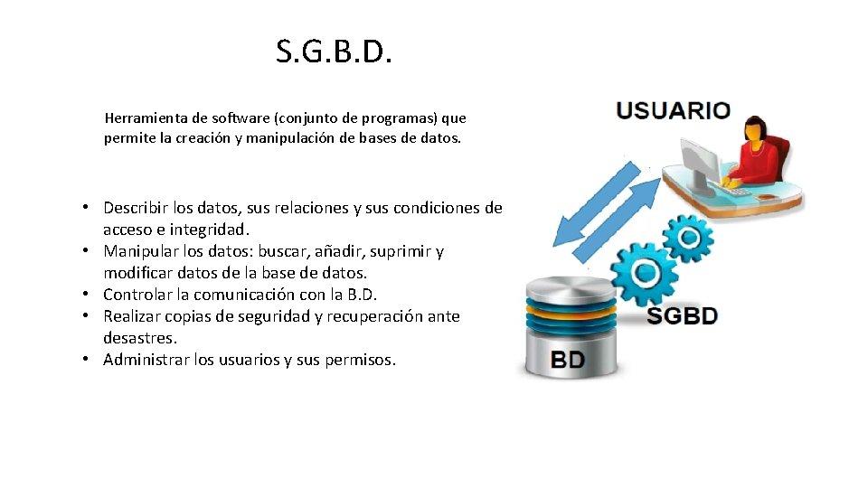 S. G. B. D. Herramienta de software (conjunto de programas) que permite la creación