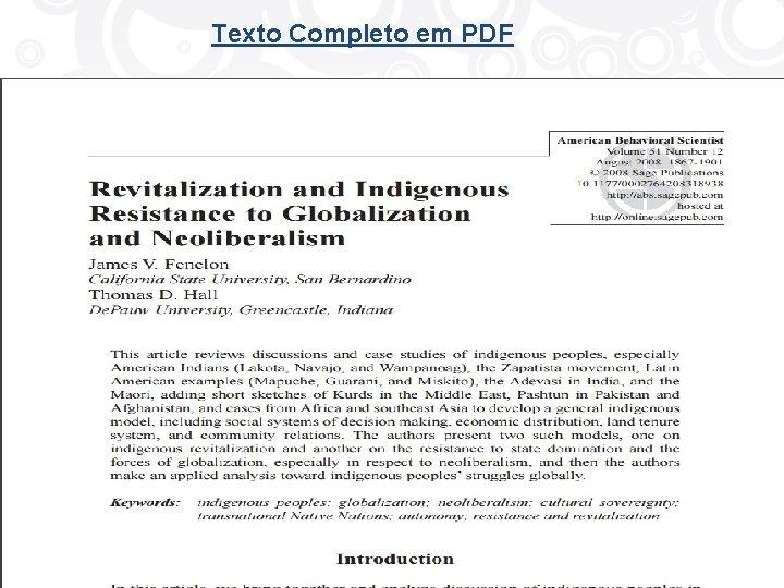 Texto Completo em PDF Quality Content • Resource Management • Access • Integration •
